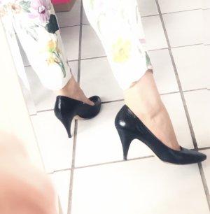 Elegante 300€ Original Escada Damen Schuhe Pumps kitten heels EchtLeder schwarz