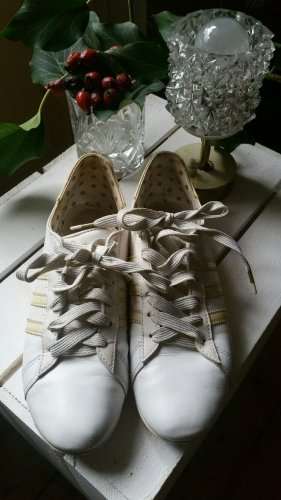 Elegante Adidas Turnschuhe Sneaker Leder 37 1/3 weiß gold