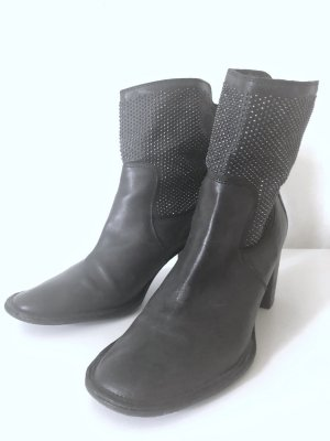 Elegante Ankle Boots in Anthrazit mit weitem Schaft