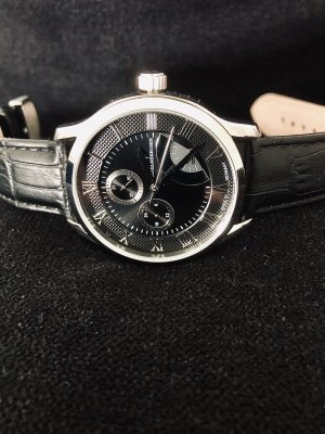 Adelsberger Watch With Leather Strap black-silver-colored leather