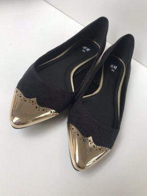 H&M Ballerina's met kant zwart-goud