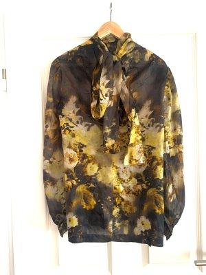 Elegante Bluse 100% Seide Floralprint braun gelb langarm v M. Reason Gr. 38/M