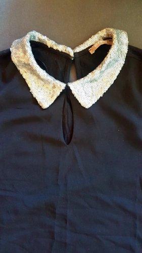 Elegante Bluse mit Pailetten-Bubikragen