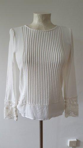 elegante Bluse mit Piesen und Spitzeneinsatz langarm