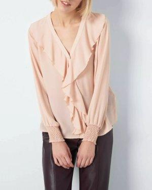 Elegante Bluse mit Rüschen rosé Größe 34 rosa