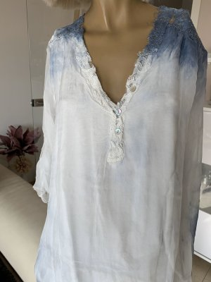 Made in Italy Long Blouse white-steel blue