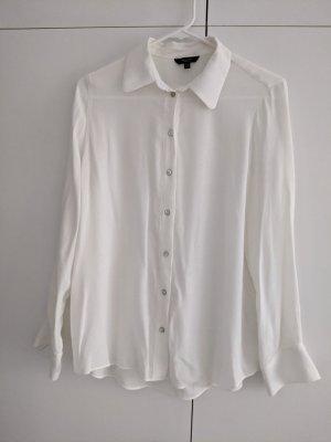 Massimo Dutti Long Sleeve Blouse white-natural white viscose