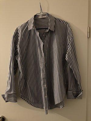 Mango Blusa-camisa blanco-azul oscuro