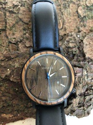Montre avec bracelet en cuir noir-brun bois