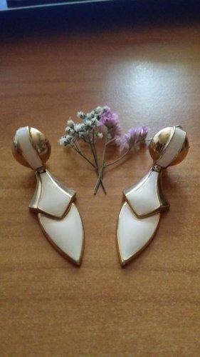 Modeschmuck Clip d'oreille doré-crème métal