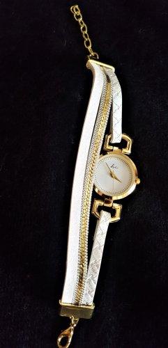 Orologio con cinturino di pelle bianco-oro