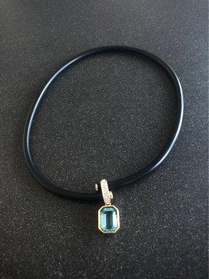Elegante Designer Halskette Damen collier schwarz mit Aquamarine Anhänger