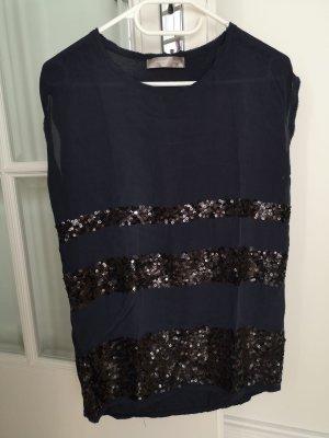 Hallhuber Donna Short Sleeved Blouse dark blue