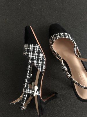 Elegante Heels tweed schwarz weiß Hohe Schuhe toe 37,5 38