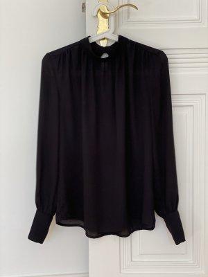 Elegante, hochgeschlossene Bluse in Seidenoptik