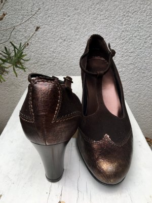 Högl T-Strap Pumps dark brown-rose-gold-coloured leather