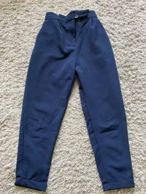 Pull & Bear Pantalon en lin bleu foncé
