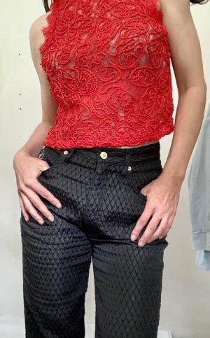 Rocco Barocco Spodnie z wysokim stanem czarny