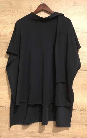 COS Bluzka ze stójką czarny-ciemnoniebieski