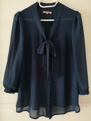 Review Stropdasblouse donkerblauw