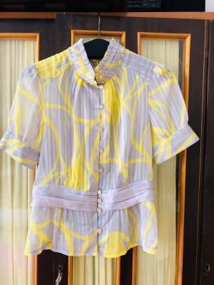 Stand-Up Collar Blouse silver-colored-yellow