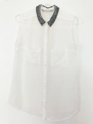 Elegante leichte Bluse von ZARA mit Strass- und Perlkragen. Weiß. Größe S.