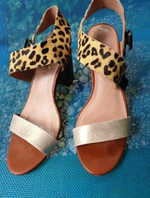 Elegante Leoparden-goldene Leder Sandalen von Ravel