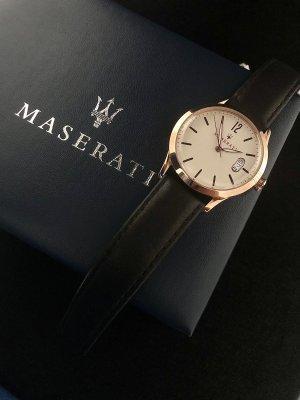 Zegarek ze skórzanym paskiem w kolorze różowego złota-kremowy