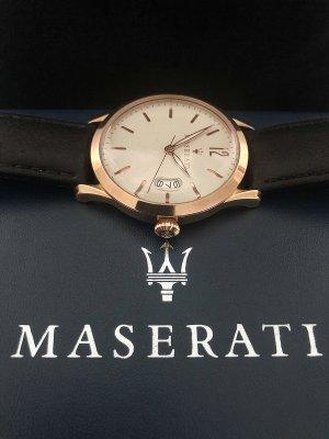 Orologio con cinturino di pelle color oro rosa-crema