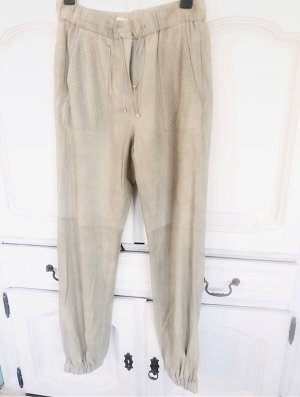 Dorothee Schumacher Leather Trousers oatmeal-light grey leather