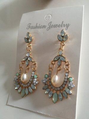 Elegante Ohrringe Mintgrün Perle Steinchen Funkelnd