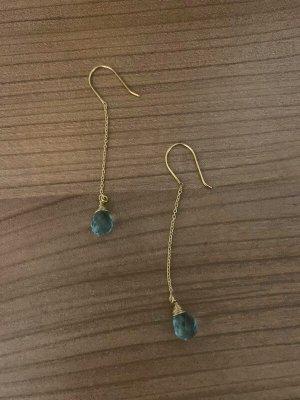 Nurage Pendant d'oreille bleu azur-brun sable