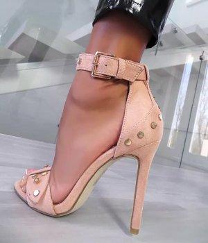 Elegante Sandalen .. High Heels Pumps .. Riemchen .. apricotfarbend .. Gr. 39 # Italy Moda # Neu .. blogger