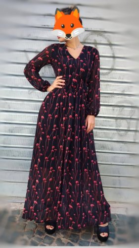 Anonyme Designers Maxi Dress black-red