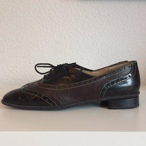 Brunate Sznurowane buty czarny-czarno-brązowy Skóra