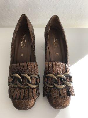 Bianca Di Zapatos estilo Oxford color bronce Cuero