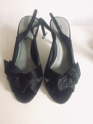 Elegante schwarze High Heel Sandaletten mit Schleife