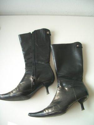 Elegante schwarze Lederstiefeletten/Halbstiefel in Gr. 39