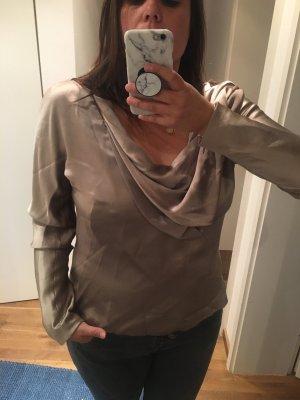 Carolina Herrera Zijden blouse goud-camel