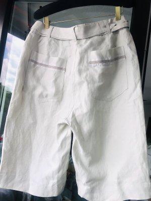 Elegante Shorts Bermudas hellgrau Leinen hoher Bund M 40