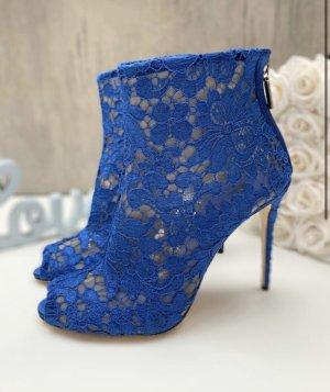 Elegante Sommerschuhe High Heels blau Spitze Stiletto Stiefelette ankle boots lace