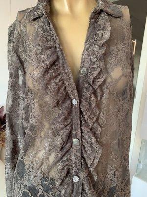 Elegante Spitzen Bluse .. Neu mit Etikett .. Gr. 40/L #Schiffhauer München# schlammfarbend/graubraun ..