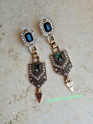 Elegante Statement Vintage Ohrringe mit grünen Steinen