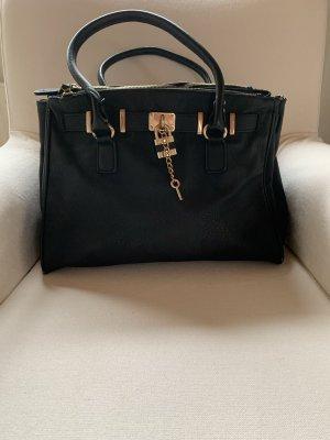 Elegante Tasche in schwarz mit  goldener Hardware - kein Leder