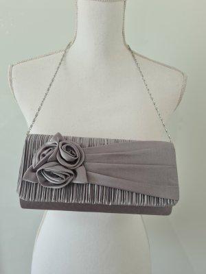 Elegante Tasche mit Blumen Applikation Clutch in grau