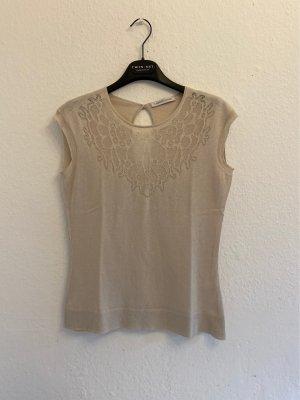 Lamberto Losani Haut tricotés gris clair-crème coton