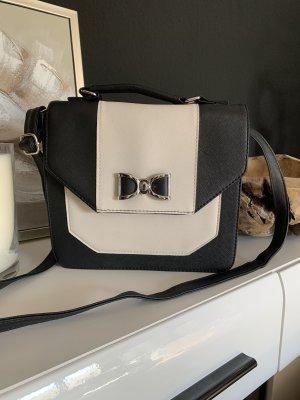 Elegante Umhängetasche, wollweiß-schwarz, Neu ohne Etikett