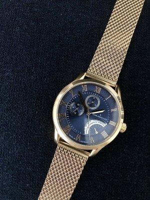 Adelsberger Zegarek z metalowym paskiem złoto-ciemnoniebieski