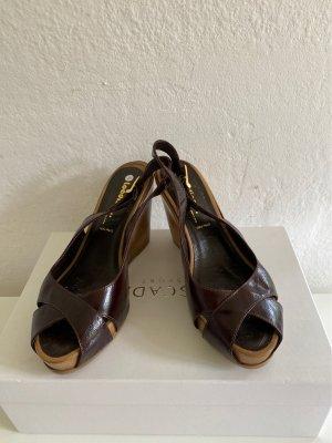 Wedge Sandals dark brown-brown red leather