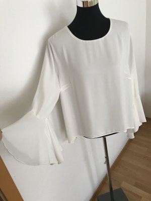 Elegante, weiße Damen Glockenärmel Bluse Gr 40 Ashley Brooke